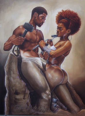 black-art-man-woman-chisel
